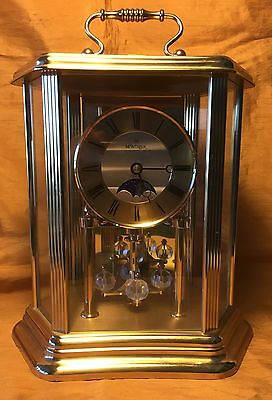 MONTREAUX  Brass/Glass Anniversary Mantle Carriage Chime Clock w Moon Phase