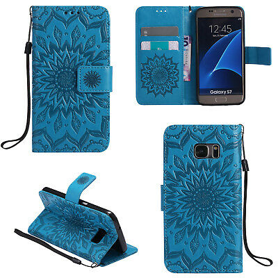 For Samsung Galaxy Note 4 Blue Flower Pattern Strap PU Leather Wallet Case Cover