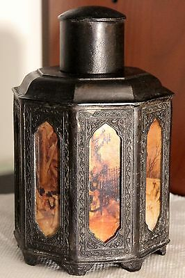 Old Chinese Footed Pewter Tea Caddy with 8 reverse painted panels