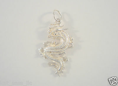 LRG VTG STERLING SILVER DETAILED MYTHICAL CARVED 3D DRAGON SERPENT PENDANT 5.9g