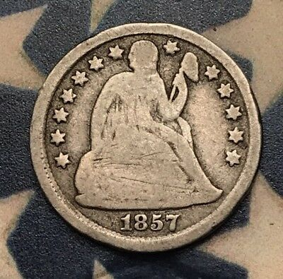 1857 10C Seated Liberty Dime 90% Silver Vintage US Coin #BH19
