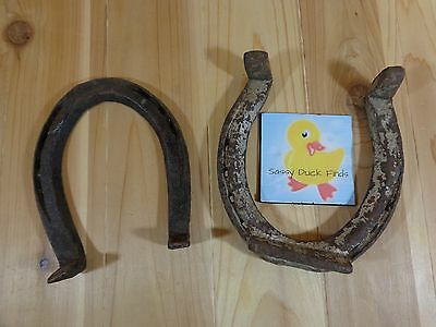 "Vintage Horse Shoes Lot of 2 Rustic Primitive 7"" Cast Iron"