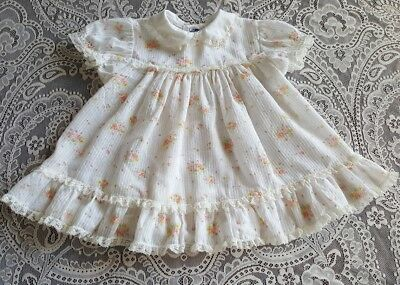Vintage Baby Childrens Girl Toddler Semi Sheer Dress Clothes