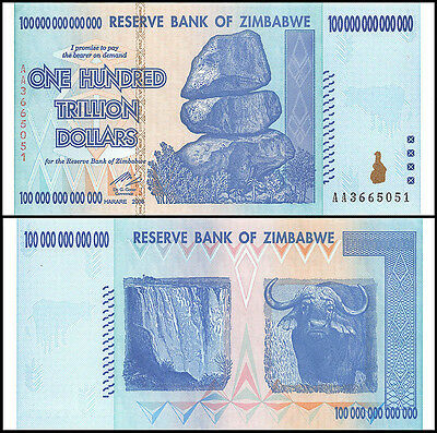 5 x 100 Trillion Zimbabwe Dollars, Uncirculated, 2008/Pick #91. FREE SHIPPING!!