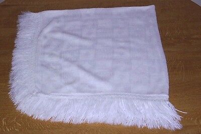 Mothercare* White Baby Shawl/Blanket - Patchwork Pattern with Tassel Fringe