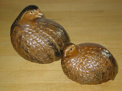 Vintage Otagiri Quail Partridge Figurines Bird Pair Hen and Chick OMC Japan