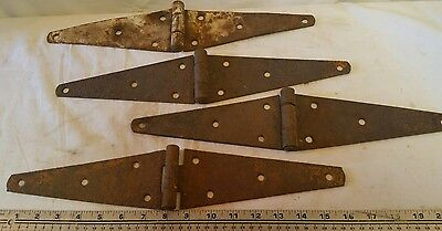 Vintage Door Hinges Barn Strap hinges Lot of 4 Hardware Heavy Duty Steel Rustic