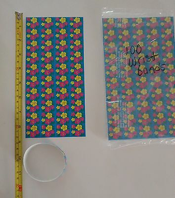 """Wristbands - 100 - 1"""" x 8 3/4"""" Self Adhesive Floral Wristbands"""