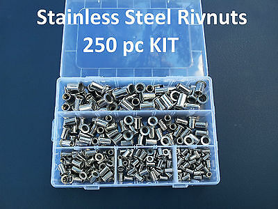 250pc STAINLESS STEEL RIVNUT KIT M3 M4 M5 M6 M8 NUTSERT SET RIVET NUT RIVNUT