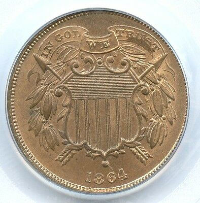 1864 Small Motto Shield Two Cents, PCGS MS 64 RD, Key Date!