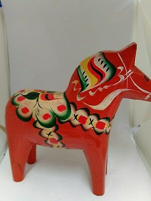 "Vintage 6"" Swedish Dala Horse Orange/Red Made in Sweden Olssons?"