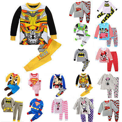 2PCS Kids Cartoon Spiderman Pajamas Boys Outfit Set Sleepwear Nightwear Homewear