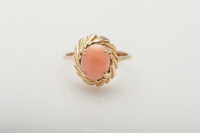 Antique 1950s 3ct Natural CORAL Gem 14k Yellow Gold Ring