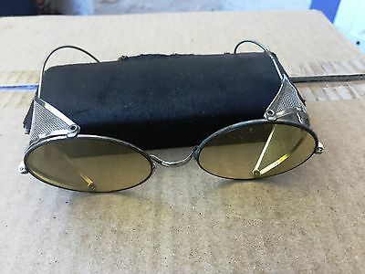 Antique Round Amber Lens Welding Glasses with Screens  Steampunk