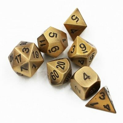 Ancient Gold Set of 7 Solid Metal Heavy Polyhedral Dice D20 (RPG D&D) w/ Bag