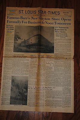 1948 St. Louis Famous Barr Store In Clayton Opens. Star Times 4Pg Newspaper