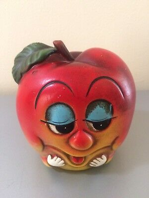 Vintage Norleans Apple Smiley Face Coin Piggy Bank Japan