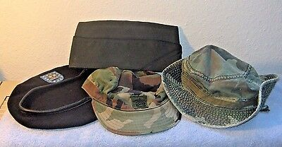 Lot of 4 Vintage Military Camouflage Hats Caps Beret Collectibles