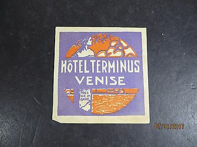 Vintage Hotel Terminus Venise Venice Italy Luggage Label