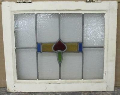 "OLD ENGLISH LEADED STAINED GLASS WINDOW Abstract Pleasant Geometric 20"" x 16.5"""