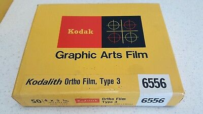 KODAK GRAPHIC ARTS FILM - KODALITH, Ortho Film 6556, Type 3 - 4x5 - Box of 50
