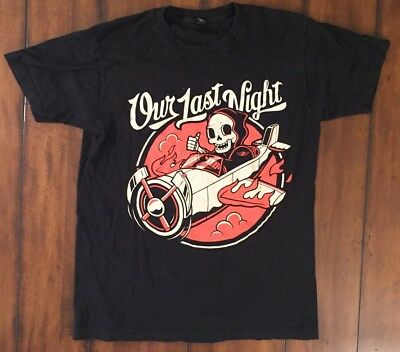 vtg Our Last Night Band T Shirt Vintage Rock Band Reaper Airplane Medium