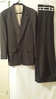 Men's Brown Pin-Striped Classic Two-Piece Suit