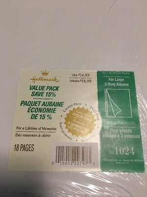 NEW Hallmark 18 PAGES for LARGE POST BOUND ALBUMS AR1024. Photo Safe - MINT
