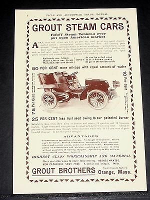 1903 Old Magazine Print Ads, Grout Steam Cars, First Tonneau & Union Automobile!