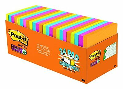 Post-it Super Sticky Notes, 3 in x 3 in, Rio de Janeiro Collection, 24 Pads NEW
