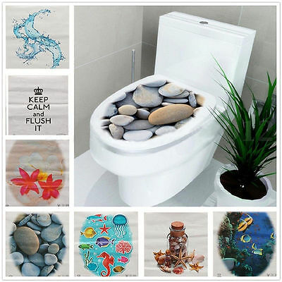 3D Toilet Seat Wall Sticker Bathroom Decal Vinyl Mural Home Decor US STOCK BB