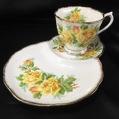 Royal Albert TEA ROSE Tennis Plate(s) Tea Cup Appetizer Snack Dessert One Handed