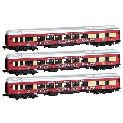 N Scale MTL 99301350 ROYAL AMERICAN SHOWS 3-pack passenger cars -- NEW IN BOX