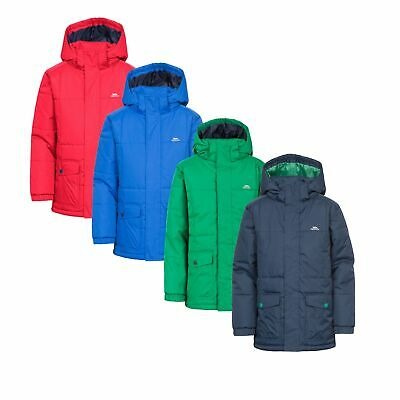 e14bb870e Trespass Longton Boys Padded Jacket Waterproof School Hooded Parka Kids Coat
