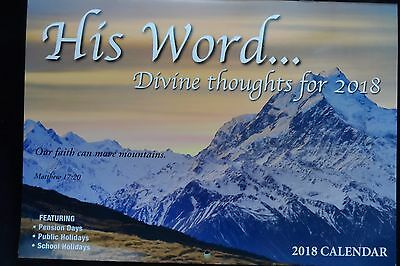 His Word 2018 Calendar - Big HD Print - Free and Fast Postage