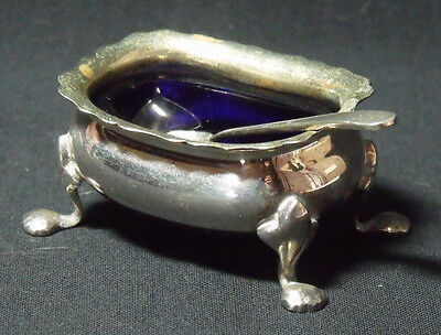 Strachan Salt Cruet and Spoon with blue glass liner Silver Plate EPNS A1 1940s