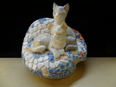 "Lladro Gaudi Collection ""Modernism"" Kittens on Bench  (Model 6664 Retired)"