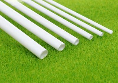 White ABS Round Plastic Pipe Tube Hollow Pipe OD 2/2.5/3/4/6/8mm x Length 250mm
