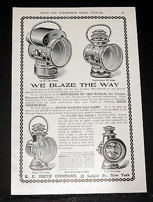 1903 Old Magazine Print Ad, Dietz Gas & Oil Lamps, Lucifer, Masterpiece, Regal!