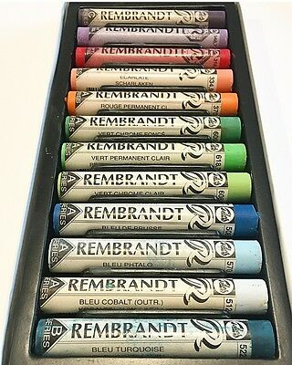 Rembrandt Soft Pastels Mixed Set Of 12 Colours  Full Sticks Lot 213