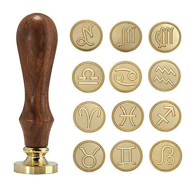 Vintage Brass Head Twelve Constellations Wax Sealing Sticks Stamp Letter Decor
