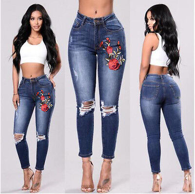 Ladies Women Embroidered Floral High Waisted Knee Rip Skinny Jeans Jeggings 6-14
