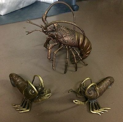 Large Prawns Family Bronze Statues X 3