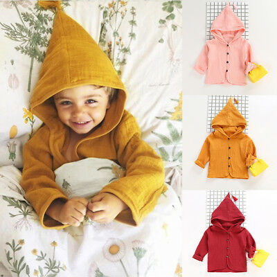 KIDS Fashion Clothing Baby Girl Cotton-linen Simple Tassel Hooded Coat Outfit