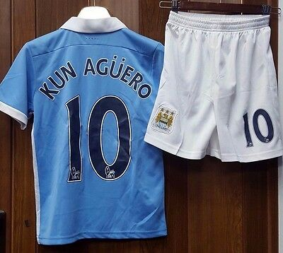 Manchester City - Sergio Aguero - Adults/ Kids - Home Jersey + Shorts