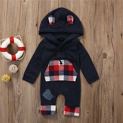 Newborn Infant Baby Boy Girl Warm Romper Hooded Jumpsuit Bodysuit Outfit Clothes