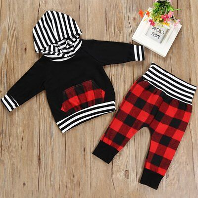 2pcs Newborn Toddler Infant Baby Boy Girls Hooded Tops+Pants Outfits Clothes Set