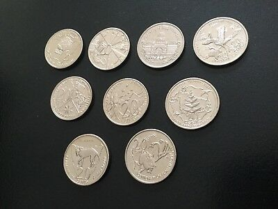 2001 Complete Set Of Federation 20 Cent Coins In Mint Condition.