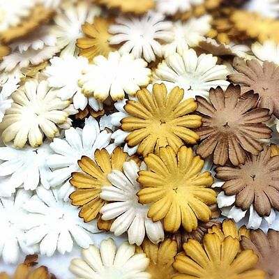 50 Mixed Brown Tone & White Daisy Flowers mulberry paper for Craft & DIY
