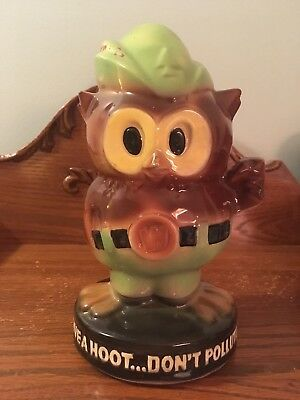 Vintage Mccoy Woodsy Owl Give A Hoot Don't Pollute Piggy Bank U.S Forest Service